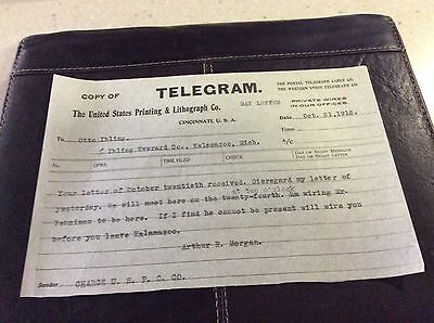 1913 Telegram from United States Printing & Lithograph Co.