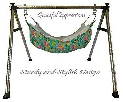 "Green Newborn Baby Nursery Cradle Swing Ghodiyu -13.5"" Depth Hammock-Quick SetUp"