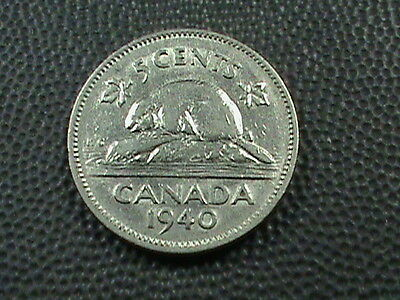 CANADA    5  Cents   1940    BEAVER  $ 2.99 maximum shipping in USA