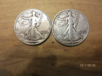 $1.00 Face Value 90% Silver NO Junk Coins 2 Different Walking Liberty Halves.
