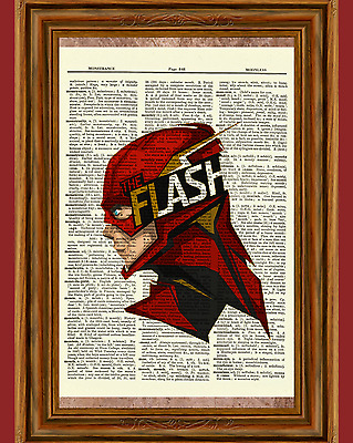 The Flash Dictionary Art Poster Picture Comic Book Marvel DC Superhero Gift