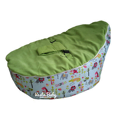 Jolly Jungle Green Baby Bean Bag Seat / Snuggle Bed - FILLED and READY TO USE