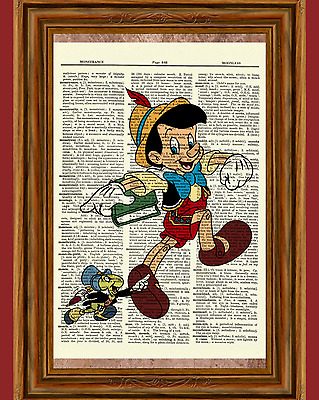 Pinocchio and Jiminy Cricket Dictionary Art Print Poster Picture Walt Disney