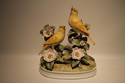 Vintage Yellow Canaries By Andrea Fine Porcelain Figurine With Pink Floral & Gre