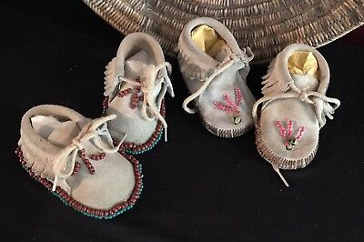 Two Pairs of Infant Moccasins Native American Indian