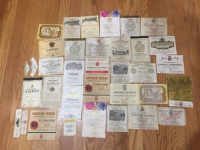 Vintage wine labels, mostly French, 1960s-80s Mouton Rothschild, etc.