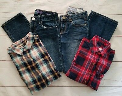 4 Pcs Gap Abercrombie Old Navy Girls Jeans Shirts Size 10 Blue Red White Pink