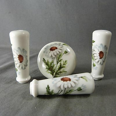 Set Vintage French Porcelain Door Knobs Lever Handles Flowers Porcelain of Paris