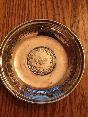 TURKEY SILVER COIN DISH WITH MEHMED V RESHAD COIN Ottoman Empire Early 1900's
