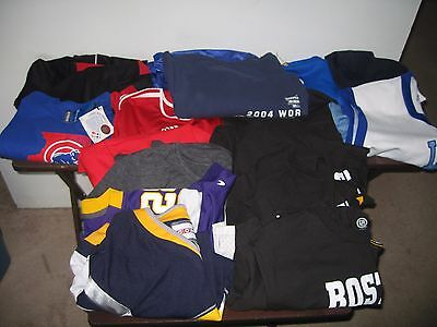16pc  LOT OF MEN'S SPORTS JERSEYS AND SHIRTS NWT, NWOT, PRE-OWNED ASSORTED SIZES