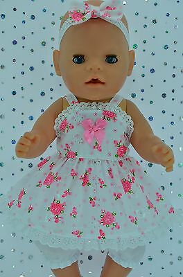 "PlaynWear Doll Clothes For 17"" Baby Born HOT PINK FLORAL DRESS~BLOOMERS~HEADBAND"