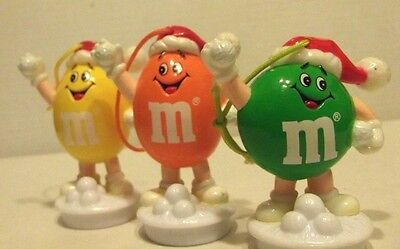 TOPPERS m&m Plain/Peanut 1990 CHRISTMAS Snowball Fight LOT of 3 Figure ORNAMENTS