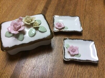 3 PIECE  Vintage Shabby Chic Box And Trays