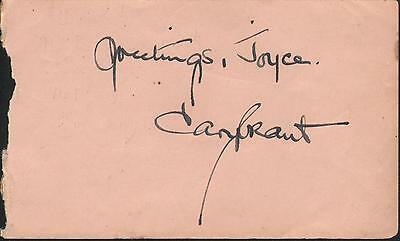 Cary Grant. Authentic autograph. Vintage signed album page. North by Northwest.