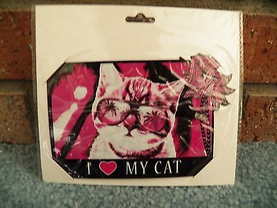 New In Package I Heart Love My Cat Car Magnet