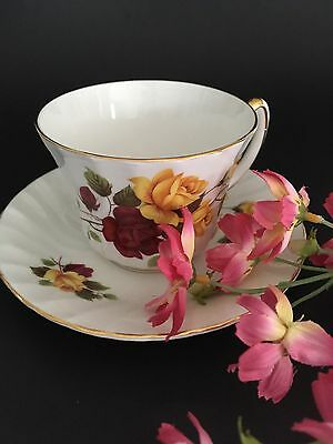 Vintage Royal Sutherland Staffordshire English Bone China Tea Cup and Saucer