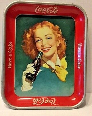 Rare Coca Cola Collectable Tin Tray Red Hair Lady Drinking Coke in Bottle