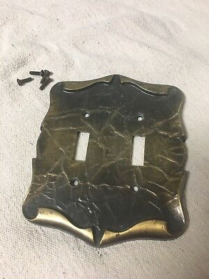 Vintage Carriage House Amerock Brass Double Light Switch Plate