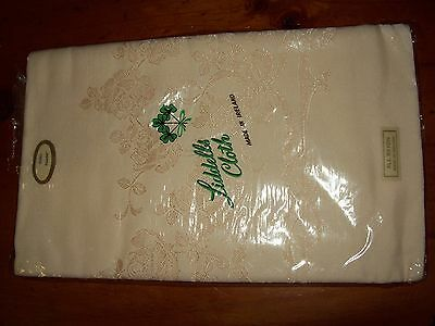 Vintage  Liddells Ivory  Irish Damask Tablecloth  52 Inch By 68 Inch Lovely