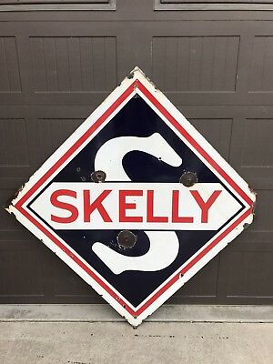 "Vintage 48"" Porcelain SKELLY Gasoline Oil Gas SIGN Double Sided"