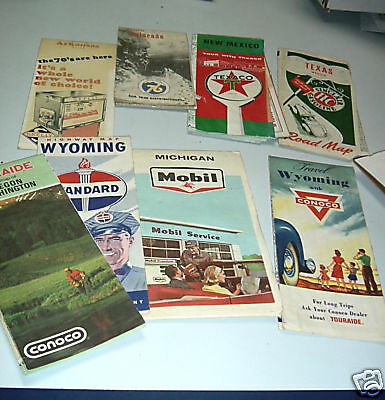 Lot of 8  70's Highway maps - Conoco, Standard oil, Skelly, Texaco, Sinclair