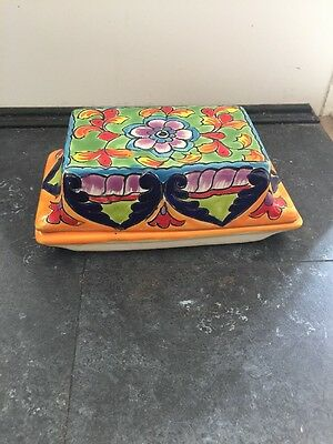 Mexican Talavera Pottery Large Butter Dish ***reduced***