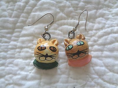 Vintage Kitty Cat Wooden Handpainted Earrings