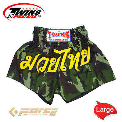 TWINS Special Pro Muay Thai Kick Boxing Shorts Pants Army Green TBS-34 L