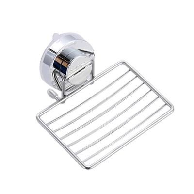 Strong Suction Bathroom Shower Chrome Accessory Soap Dish Holder Cup Tray Q4T1