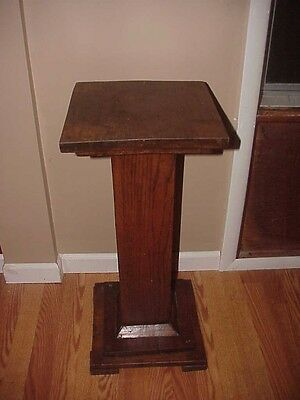 Antique Arts Crafts Mission Oak Pedestal Plant Stand