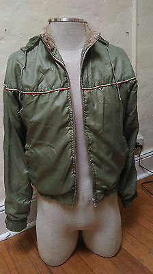 Vintage Simon Kessel bomber jacket fleecy lined olive green small medium