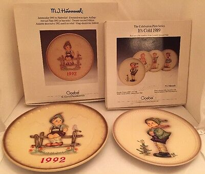 Hummel 1992 Annual Plate (Hum 228)  & 1989 It's Cold Celebration Plate In Boxes
