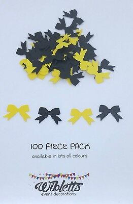 100 Punchies Confetti Scatter Mini Emma Wiggle Bows Yellow Black Theme Party