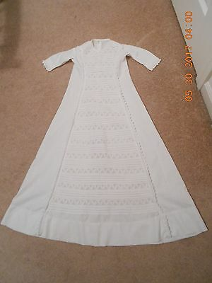 Antique All Hand Made Original Christening Gown White Cotton Pin Tuck Waterfall