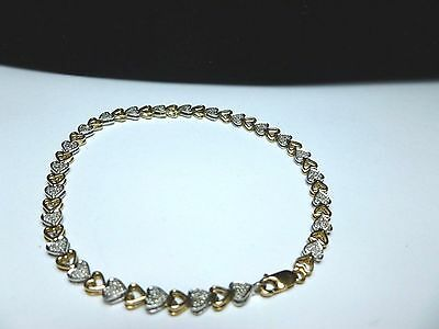10CT Yellow And White Gold ( 72 ) Diamond Heart Shape Bracelet