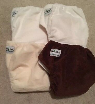 Lot of 4 Just Simply Baby Boy Girl Neutral Colors Minky Cloth Diapers 8 Inserts