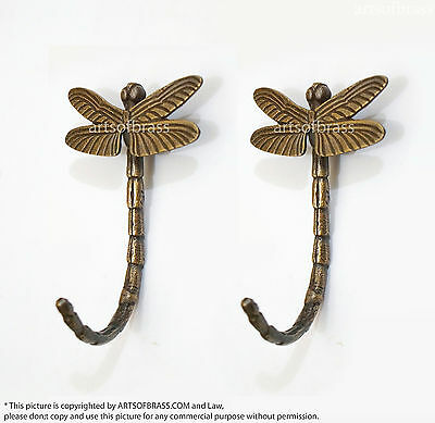 "4.13"" 2 pcs Vintage Retro DRAGONFLY Animal Solid Brass Wall Mount Coat Hat Hook"