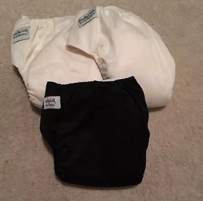 Lot of 3 Just Simply Baby Boy Girl Black Off White Cloth Diapers with 6 Inserts
