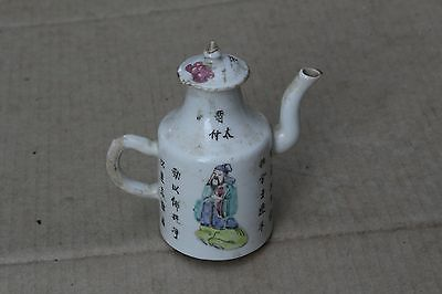 Antique Chinese hand painted porcelain kettle wine pot flagon, republic period