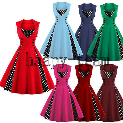 50'S 60'S ROCKABILLY DRESS Vintage Swing Pinup Retro Housewife Party Dress
