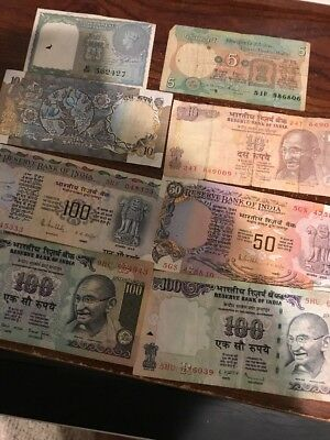 Lot Of Eight Reserve Bank Of India Notes, 1, 5, 10, 50, 100 Rupees