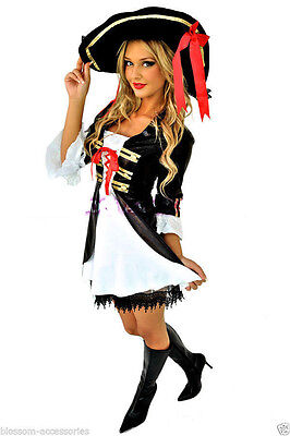 Pirate Costume Halloween Ladies Fancy Deluxe Dress Hat Cosplay Outfit
