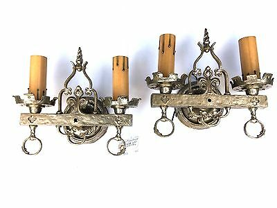 ANTIQUE 1920's Lion Mfg Co. Nickel Plated Brass Double Light Sconces - PAIR/MINT