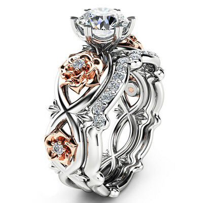 925 Sterling Silver & Rose Gold Filled White Sapphire Flower Wedding Ring Set