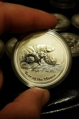2008 Lunar Mouse 1 oz Silver Coin, Series II from Perth Mint in Australia