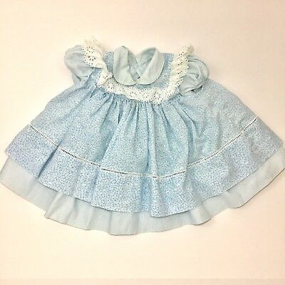 Vintage Blue Floral Pinafore Style Baby Dress Size 18 Months White Eyelet Lace