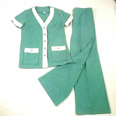 Vintage 1970s Pant Suit 0205 Womens 12 Mint Green Short Sleeve Top Wide Pants