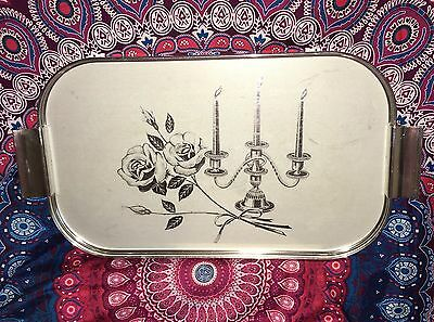 Vintage Stainless Steel Chalice Candles Roses Drink Bar Tray Estate Collectable