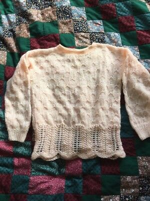 1940s style Hand Knit Peach Sweater