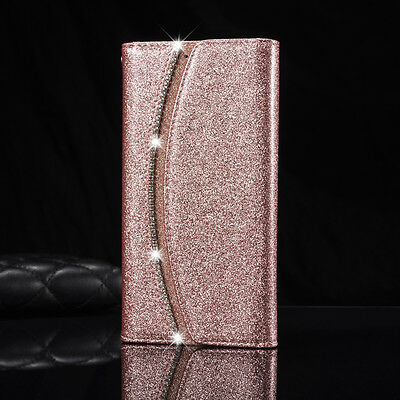 Bling Crystal Flip Wallet Slim Leather Case Cover For Samsung Galaxy & iPhone